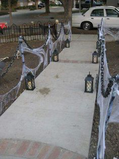 quick easy haunted stanchions solved my need for a lot of fencing halloween progress fence solution - Do It Yourself Halloween Decorations For The Yard