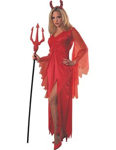 This devil costume includes a long red dress with long draping sleeves and sumptuous v-shaped neck. The high side slit adds a sexy touch to this devilish piece! Halloween Costumes For Sale, Halloween Fancy Dress, Halloween Outfits, Cool Costumes, Adult Costumes, Costumes For Women, Halloween 2015, Carnival Costumes, Halloween Ideas