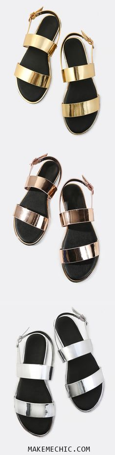 Online shopping for Open Toe Double Band Metallic Sandals GOLD from a great selection of women's fashion clothing & more at MakeMeChic. I Love My Shoes, Dream Shoes, Crazy Shoes, Cute Shoes, Me Too Shoes, Cute Sandals, Simple Sandals, Jewels Clothing, Open Toe Boots
