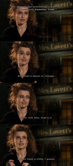 LOL Helena Bonham Carter talking about Tim Burton