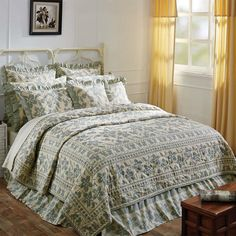 GRAY RUCHED ** King ** QUILT SET ROCHELLE STEEL GREY RUFFLE SHABBY COTTAGE