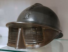 Experimental invention of  french helmet with face protection during 1st WW times  by Dr. Pollack