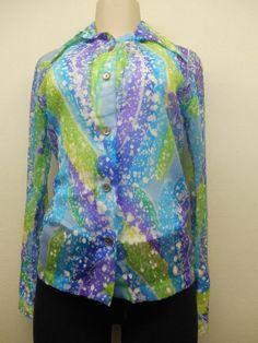 70's Ladies Teddi of California Multi-color Long Sleeve Blouse sz 32 (#13011) #vintage