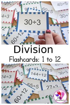 Free Division Flash Card Printable - with division from 1 to 12 with white, red, green, pink and blue options for the cards - 3Dinosaurs.com #3dinosaurs #division #divisionflashcards #thirdgrade #fourthgrade Multiplication Activities, Math Activities For Kids, Number Activities, Math For Kids, Fourth Grade, Third Grade, Division For Kids, Division Flash Cards, Addition Flashcards