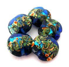 4 cobalt blue lampwork glass beads ocean waves by MindieleeSupplyz, $4.70