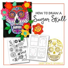 Skulls & Day of the Dead Art Ideas How to draw a sugar skull free handoutHow to draw a sugar skull free handout Halloween Art Projects, Fall Art Projects, Halloween Halloween, Vintage Halloween, Halloween Makeup, Halloween Costumes, Sugar Skull Art, Sugar Skulls, Art Handouts