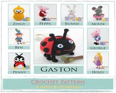 9 Crochet Pattern E-Book / PDF File Gaston Ben by TatieSoftToys