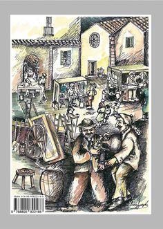 """Acquerello di Nisio Lopergolo. Retro copertina del libro di Paolo Frescura """"Altri Tempi. Attività e mestieri svaniti"""", Edizioni Magister, isbn 9788890822186."""