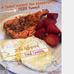 A sweet potato for breakfast?? YES!! Why not?? Add eggs over easy & some fresh fruit! Yummy 21 day fix approved breakfast! 1 yellow, 1 red, 1 purple! #21dayfix #erinyoungfitness