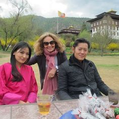 Diane Von Furstenberg with the King and Queen of Bhutan