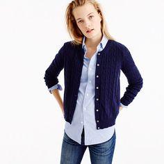 Our classic cable cardigan sweater is back, and just in time for the chillier months ahead (there's a reason it never goes out of style). <ul><li>Semifitted.</li><li>Hits at hip.</li><li>Wool/nylon/viscose in a 7-gauge knit.</li><li>Dry clean.</li><li>Import.</li><li>Online only.</li></ul>