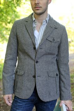 great fall jackets for men!  Gap Herringbone Tweed Blazer