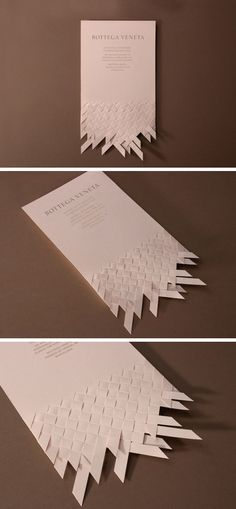 Marnich – Invitation design proposal for the opening of Bottega Veneta's flagship store in Barcelona, 2012 Paper Design, Design Art, Print Design, Diy Design, Typography Design, Branding Design, Paper Art, Paper Crafts, Creative Business Cards
