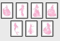 Set of 7 Princess prints Disney princess Snow White Aurora Ariel Jasmine Belle Elsa Cinderella Nursery pink watercolor Disney print Girl