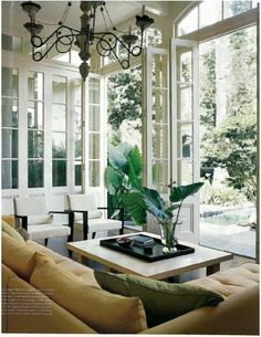 Beautiful Living Room - love the fold away doors! Love the fact that fresh air can flow indoors! The sofa is perfect. The chairs go nicely with the whole room. Beautiful Living Rooms, Beautiful Interiors, Interior And Exterior, Interior Design, Interior Modern, Deco Design, Home Fashion, My Dream Home, Great Rooms