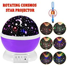 Night Lighting 3 Modes Rotating Star Light Projector 4LED Romantic Night Lamp Projection Cosmos Star Sky Moon Lamp Projector for Kids Baby Bedroom Christmas Gifts BY Noza Tec Purple ** For more information, visit image link.