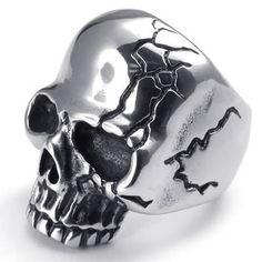 KONOV Joyería Anillo de hombre, Calavera Cráneo Tribal Gótico Biker, Acero inoxidable, Color negro plata (con bolsa de regalo): KONOV: Amazon.es: Joyería