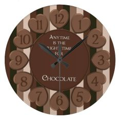 Chocolate Hearts Round Wall Clock #zazzle #chocolate #candy #clock #walldecor http://www.zazzle.com/zazzlewallclocks
