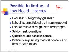 Low literacy signals Health Literacy, Career Day, Folded Up, Health Care, Medical, Facts, Relationship, This Or That Questions, Medicine