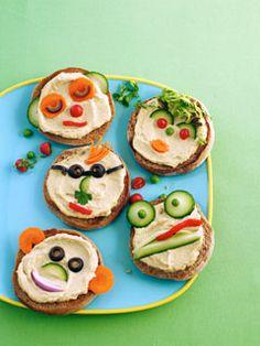 Recipe: Hummus Heads (using English muffins) - Recipelink.com