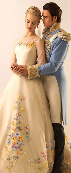 """Lily James & Richard Madden in 'Cinderella"""". I can't get over how absolutely gorgeous this couple is together. Lily James is stunning. Cinderella Movie, Cinderella 2015, Cinderella Dresses, Cinderella Wedding, Cinderella Prince, Lily James, Have Courage And Be Kind, Richard Madden, Movie Costumes"""