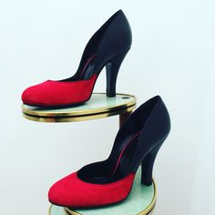 Penahaus shoes, Lilly Jayne collection in different colours ! This is the red suede with Black leather two tone