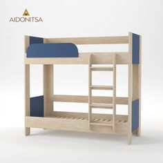 Κρεβάτι Κουκέτα Domino 194.6x97.6x182.5 Φυσικός Δρύς-Μπλέ μέ Σκάλα και Βάση Στρωμάτων, Εξαιρετική ποιότητα στιβαρή κατασκευή. Δέχεται στρώματα 80x190 (τα στρώματα δεν περιλαμβάνονται) Από την Alphab2b.gr Blue Bedding, Double Beds, Bunk Beds, Kids Room, Furniture, Home Decor, Products, Full Beds, Room Kids