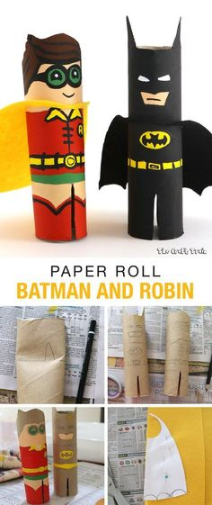 Paper Roll Batman and RobinRate this post Paper Roll Batman and Robin Paper Roll Batman and Robin kids activity using toilet paper or paper towel tubes Kids Crafts, Summer Crafts, Projects For Kids, Diy For Kids, Diy And Crafts, Arts And Crafts, Art Projects, Paper Towel Crafts, Paper Towel Tubes