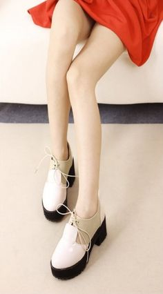 Autumn Fashionable Rough Heel Light Leather Pump with Platform on BuyTrends.com, only price $26.67