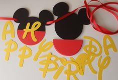 DIY Mickey Birthday Banner with Fancy Font by FeistyFarmersWife