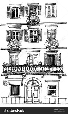 Old Building Sketch Freehand Drawing Stock Illustration 334532501 Building Drawing, Building Sketch, Building Art, Building Illustration, House Illustration, Line Drawing, Drawing Sketches, Sketch Ink, Drawing Ideas