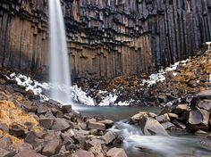 Svartifoss (Black Fall). The hexagonal columns were formed inside a lava flow that cooled very slowly. Skaftafell National Park, Iceland