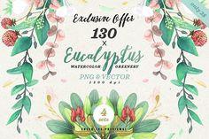 -90% Greenery Watercolor Eucalyptus2 by The Wedding Shop on @creativemarket