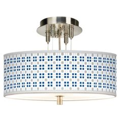This sleek, drum shade ceiling light offers a custom Quadrant pattern giclee shade design. Shade is high x wide. Pre-set hanging height of high. Maximum hanging height of Minimum hanging height of high. Style # at Lamps Plus. Drum Ceiling Lights, White Acrylics, Drum Shade, Chandeliers, Diffuser, Print Patterns, Lamps, Shades, Design
