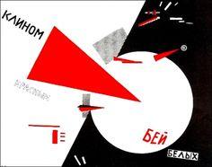 Lissitzky - Affiche - 1920 - Avec un coin rouge enfonçons les blancs