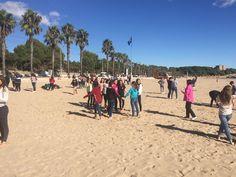 A la platja fent activitats en la diada del Pare Palau