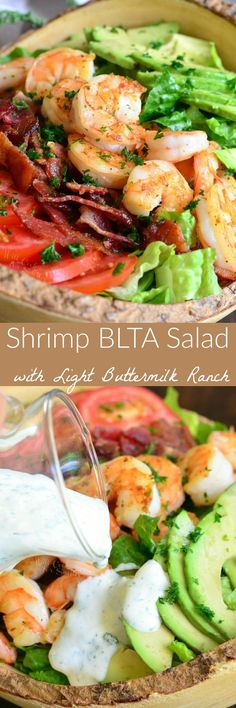 Shrimp BLTA Salad with Light Buttermilk Ranch — delicious dinner salad packed with classic BLT flavor combination and addition of juicy shrimp and creamy avocado. Healthy Salads, Healthy Cooking, Healthy Eating, Cooking Recipes, Healthy Recipes, Keto Recipes, Healthy Dinners, Seafood Recipes, Dinner Recipes
