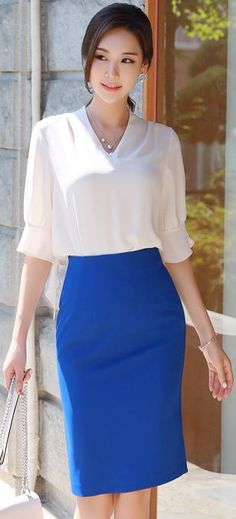 STYLEONME_Basic High-Waisted Pencil Skirt.  Simple minimalist style.