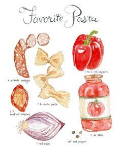 红椒 番茄酱 水彩手绘图