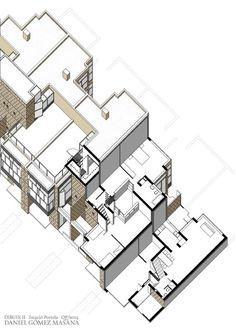 Herman Hertzberger // Diagoon Houses // isometric section view // @etsavega