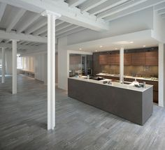 #Industrial_Style #Industrial_steel_beams : Larix. Wood effect ceramic tiles