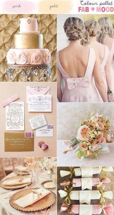 Pink & Gold Wedding Colour Board - Wedding Colours, Wedding Themes, Wedding colour palettes