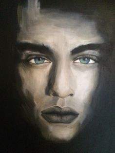 This is an acryl painting of The man. The man who is looking right into your soul.  Relates to: Man, portrait, green eyes, shadows, dream, the look...