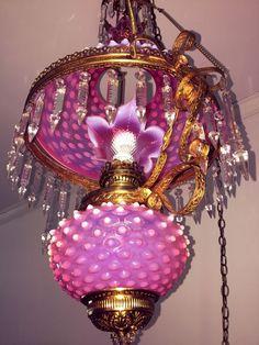 VINTAGE LARGE OPALESCENT CRANBERRY GLASS HOBNAIL AND CRYSTAL CHANDELIER