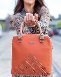 Handbag in orange with embossed texture, adjustable/detachable strap, embroided and cut out pattern Orange Handbag, White Handbag, Green Sandals, Brown Backpacks, Blue Handbags, Beige Dresses, Pu Leather, Dust Bag, Spring Summer