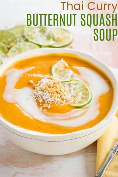 Thai Curry Butternut Squash Soup - classic creamy comfort food gets an unexpectedly delicious twist with the addition of bold, aromatic flavors. This satisfying and healthy soup recipe is rich and velvety smooth, and so easy to make. It'll warm you from the inside out, plus it is naturally gluten free and vegan. Enjoy it on its own for lunch or check out the Make it a Meal suggestions on cupcakeandkalechips.com to round out your dinner.