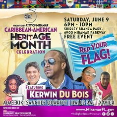 TONIGHT IS THE NIGHT: Celebrate Caribbean American Heritage Month at 6 p.m. at Shirley Branca Park as we celebrate with a concert featuring artists like @kerwindubois Ada Kiki Sanchez Quartet @officialhallerae and Xaiver! You won't want to miss this! #IRHIM