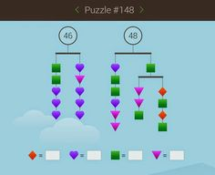 Solve equations to balance the mobiles (whether you realize that's what you're doing or not) Play Math Games, Math Activities, Math For Kids, Puzzles For Kids, Logic Problems, Build Math, Math Challenge, Physics And Mathematics, Math Formulas