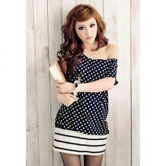 Sweet Scoop Neck Polka Dot Splicing Stripe Pattern Design Dress For Women