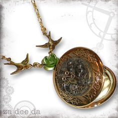 Rose Steampunk Golden Locket  Za Dee Da Time Traveller by zadeeda, $49.00....I want this!